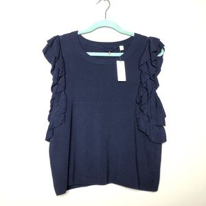 NWT anthropologie knitted knotted blue ruffle top